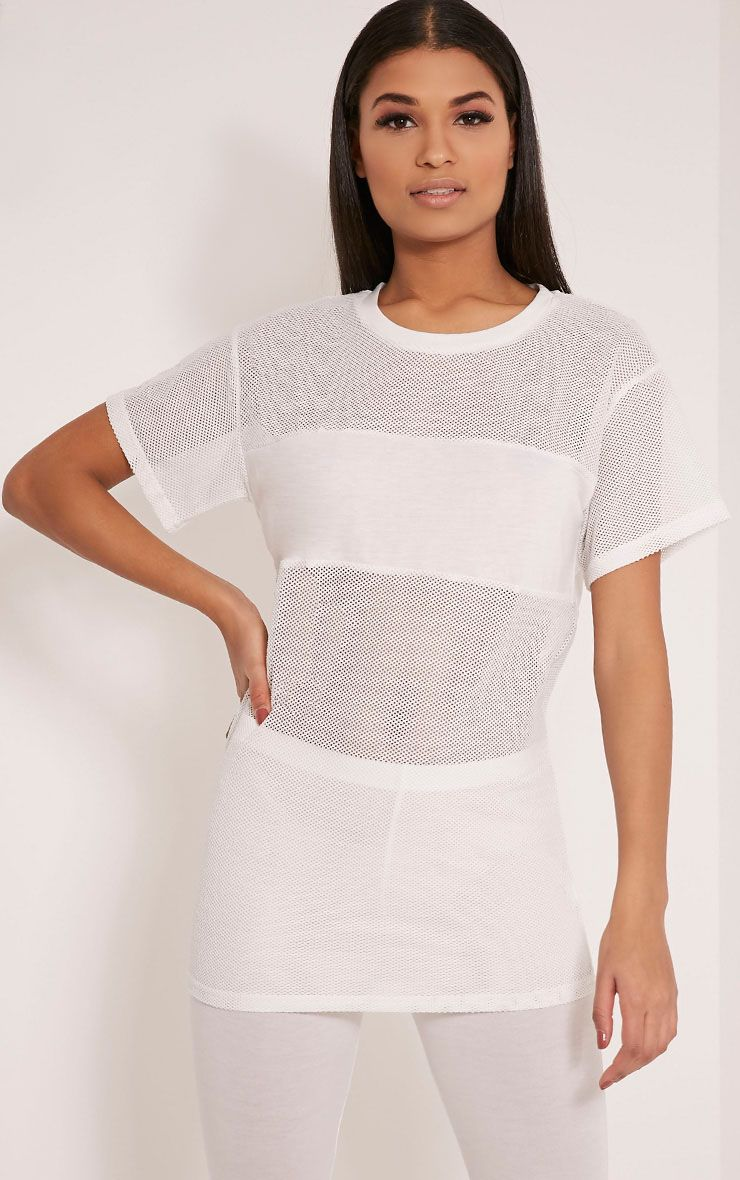 Kaira White Mesh Panel Longline T Shirt 1