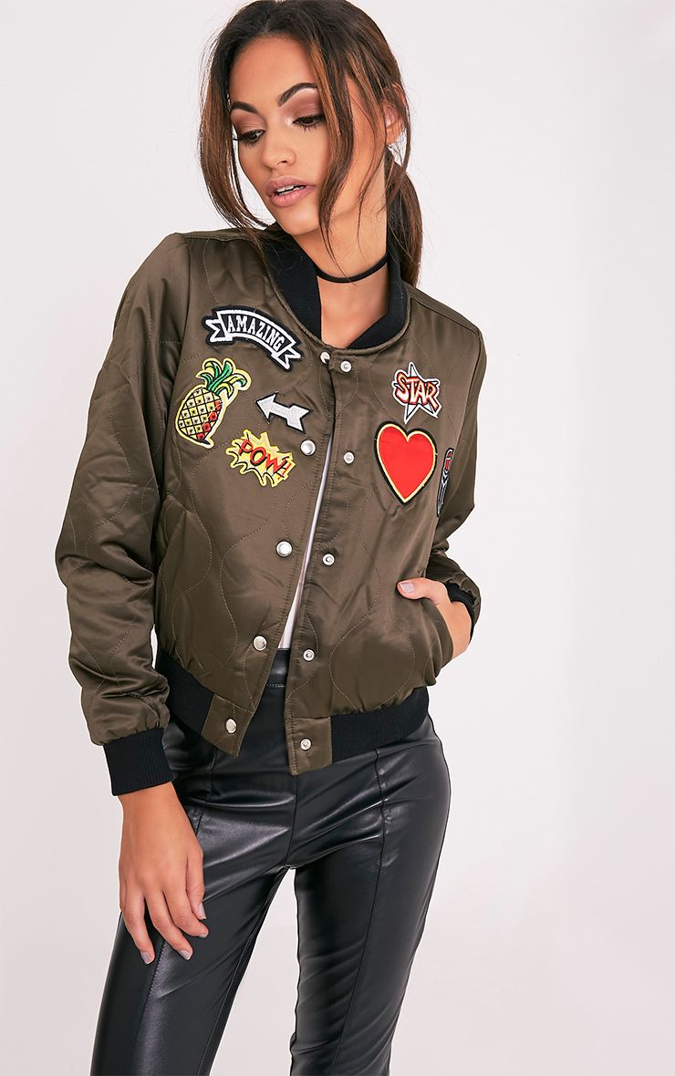 Ileana Khaki Satin Quilted Badge Detail Bomber Jacket