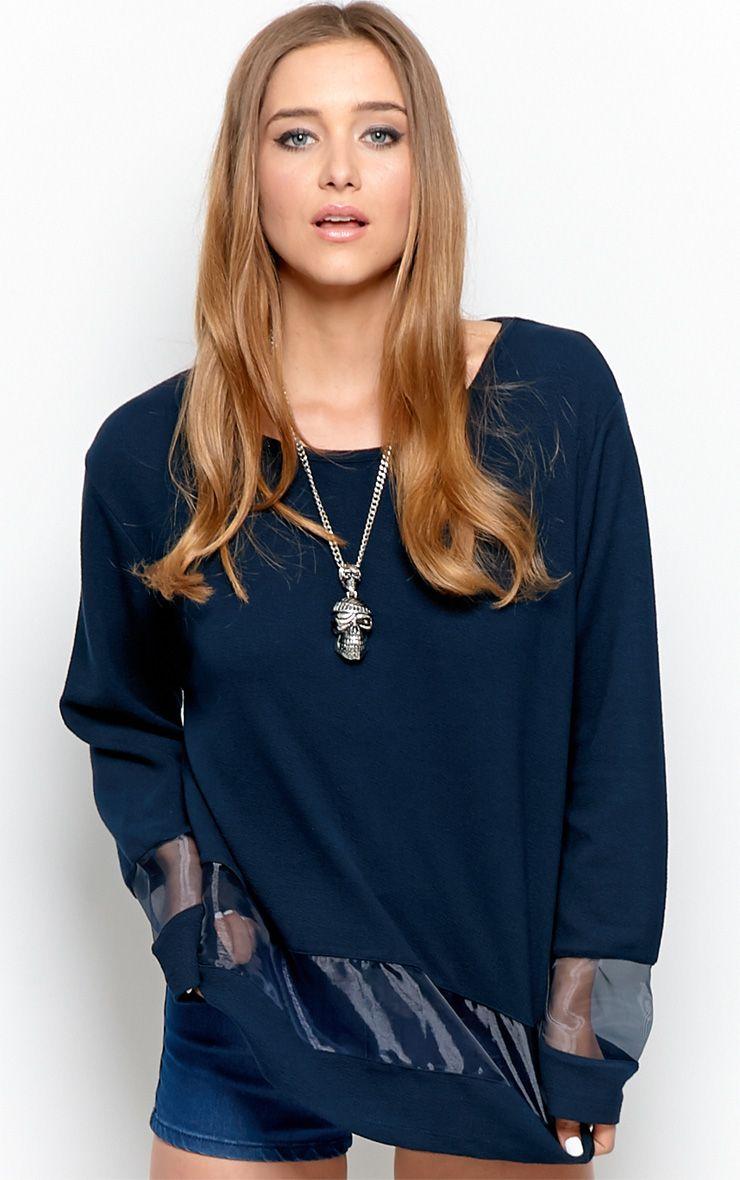 Elena Navy Sheer Panel Sweater 1