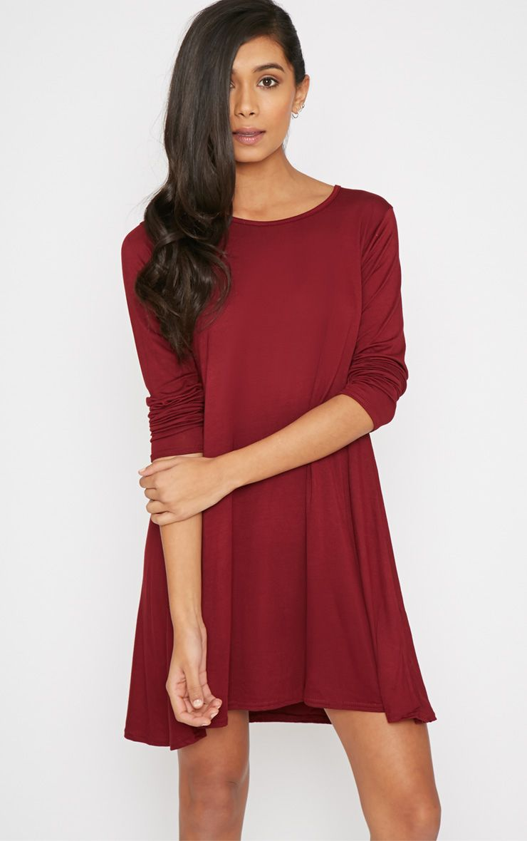 Rosetta Wine Jersey Swing Dress 1
