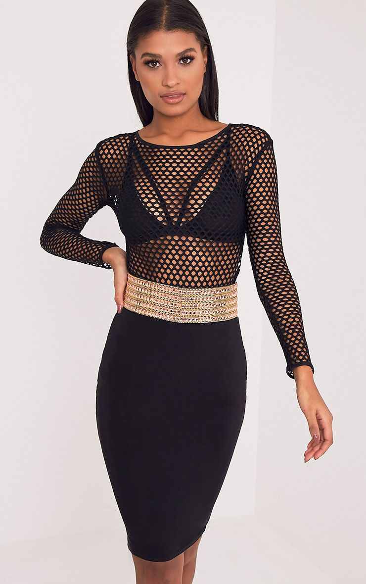 Ada Black Fishnet Longsleeve Bodysuit