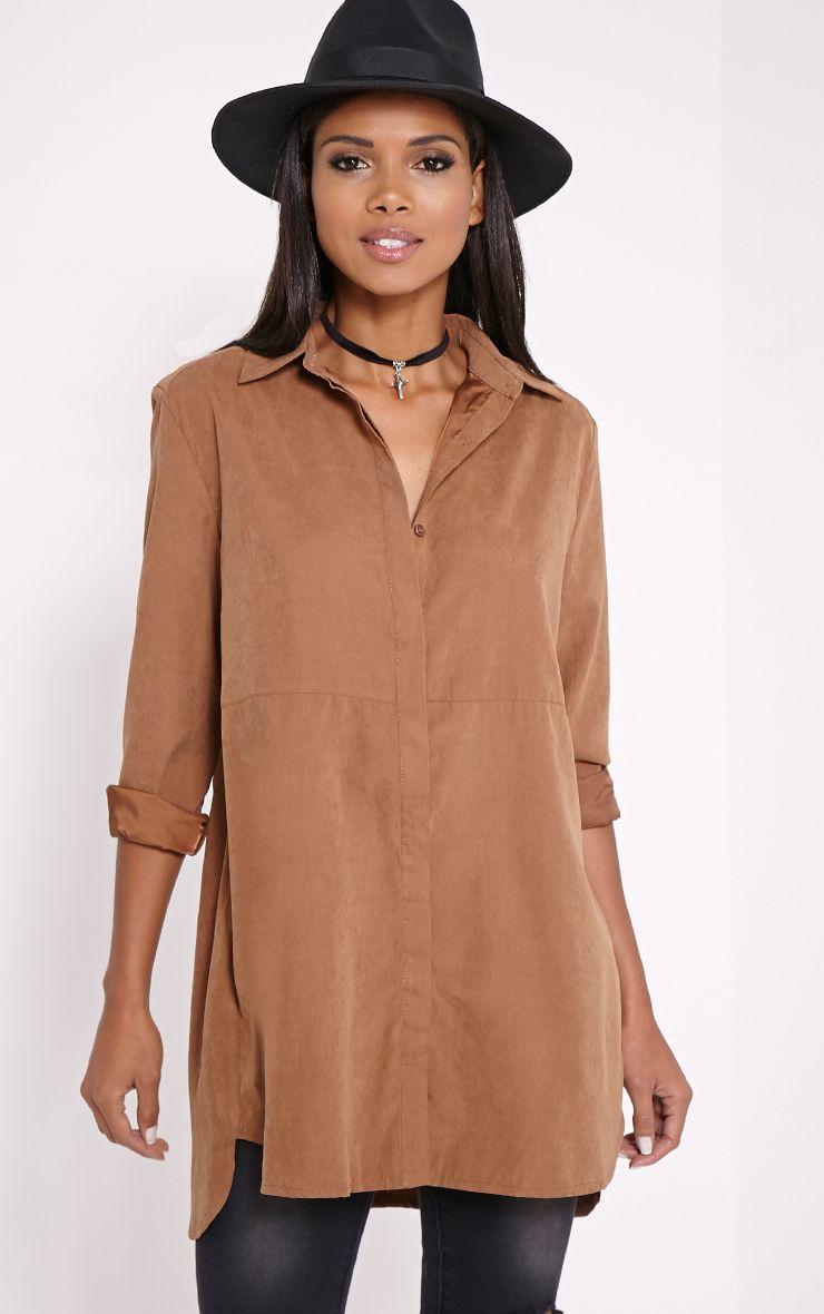 Joanie Chocolate Peach Skin Shirt