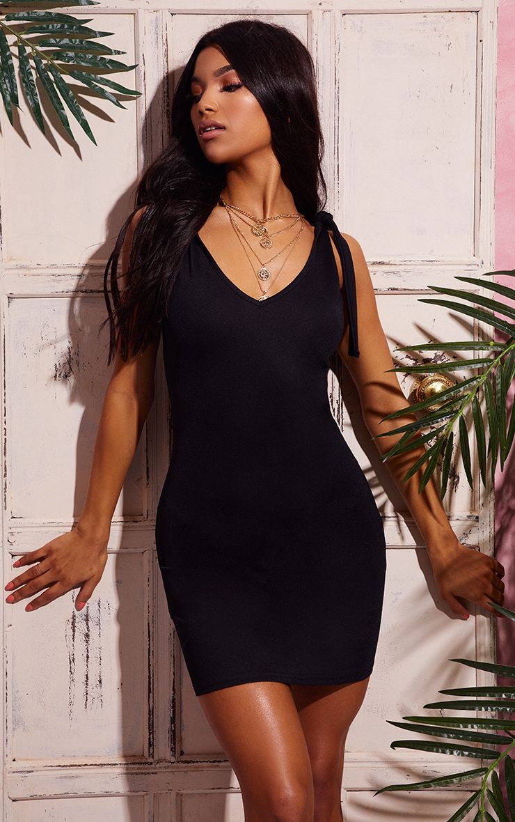 Black Tie Strap Plunge Bodycon Dress