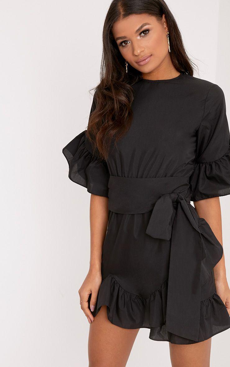 Aaliyah Black Frill Detail Mini Dress