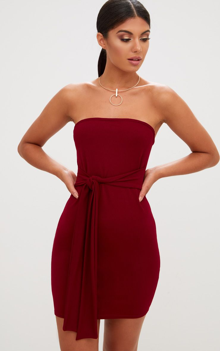 Burgundy Bandeau Tie Front Bodycon Dress
