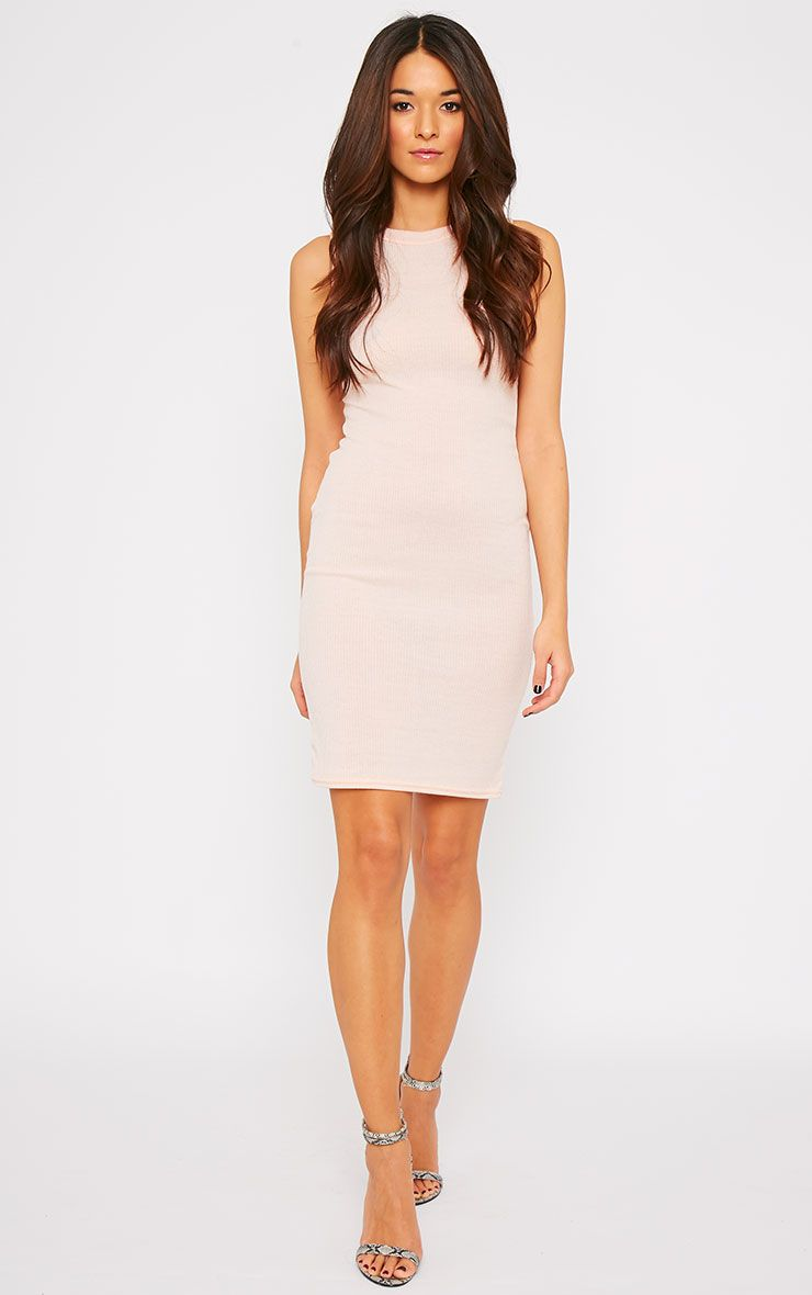 Bella Nude Ribbed Sleeveless Dress  1
