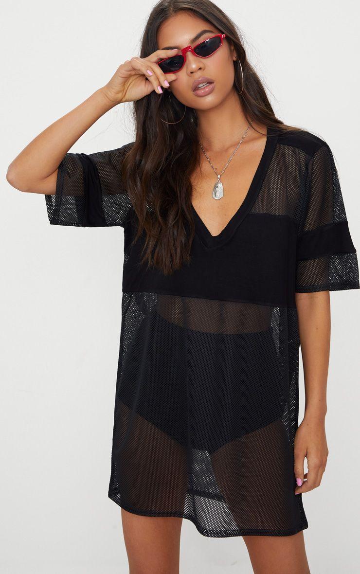Black Airtex Mesh T Shirt Dress 1