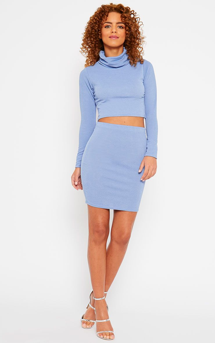 Emilia Blue Crepe Mini Skirt 1