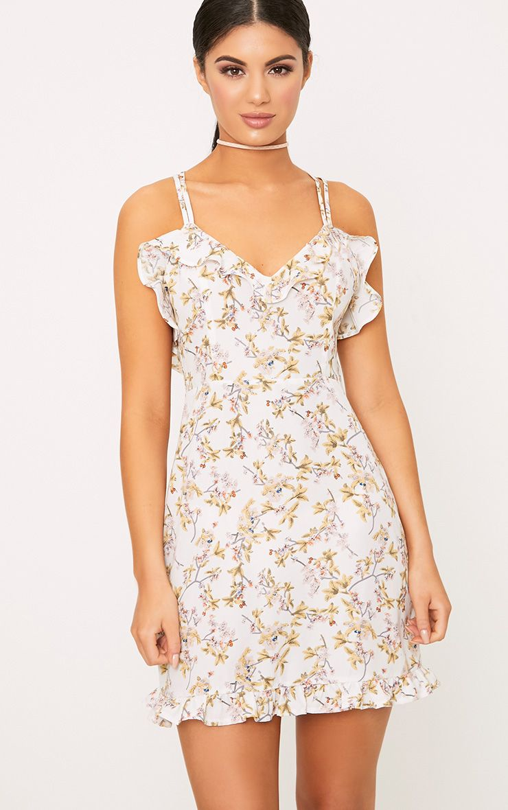White Printed Frill Strappy Swing Dress