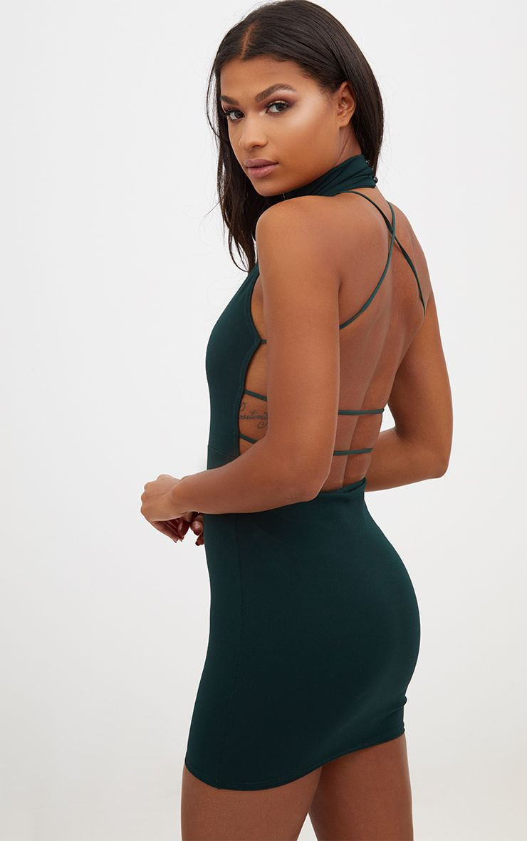 Emerald Green Lace Up Back Extreme High Neck Detail Bodycon Dress