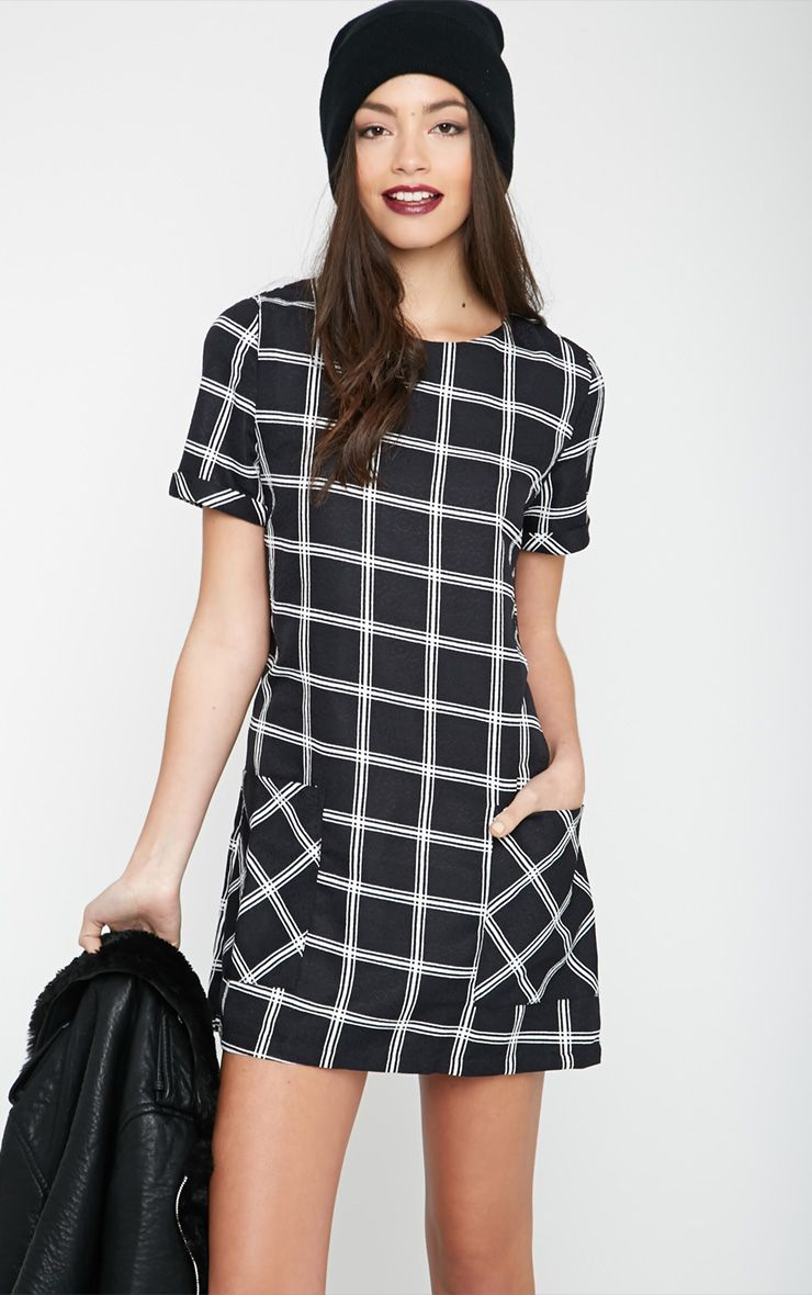 Kacey Black Checked Shift Dress 1