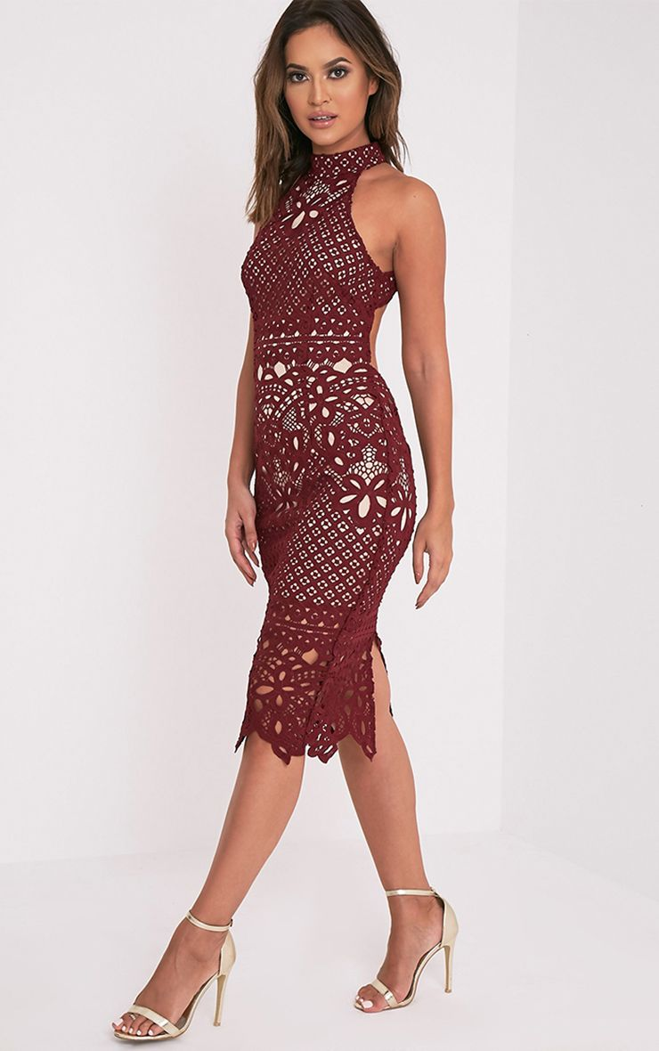 Hanny Burgundy Crochet Lace Backless Midi Dress