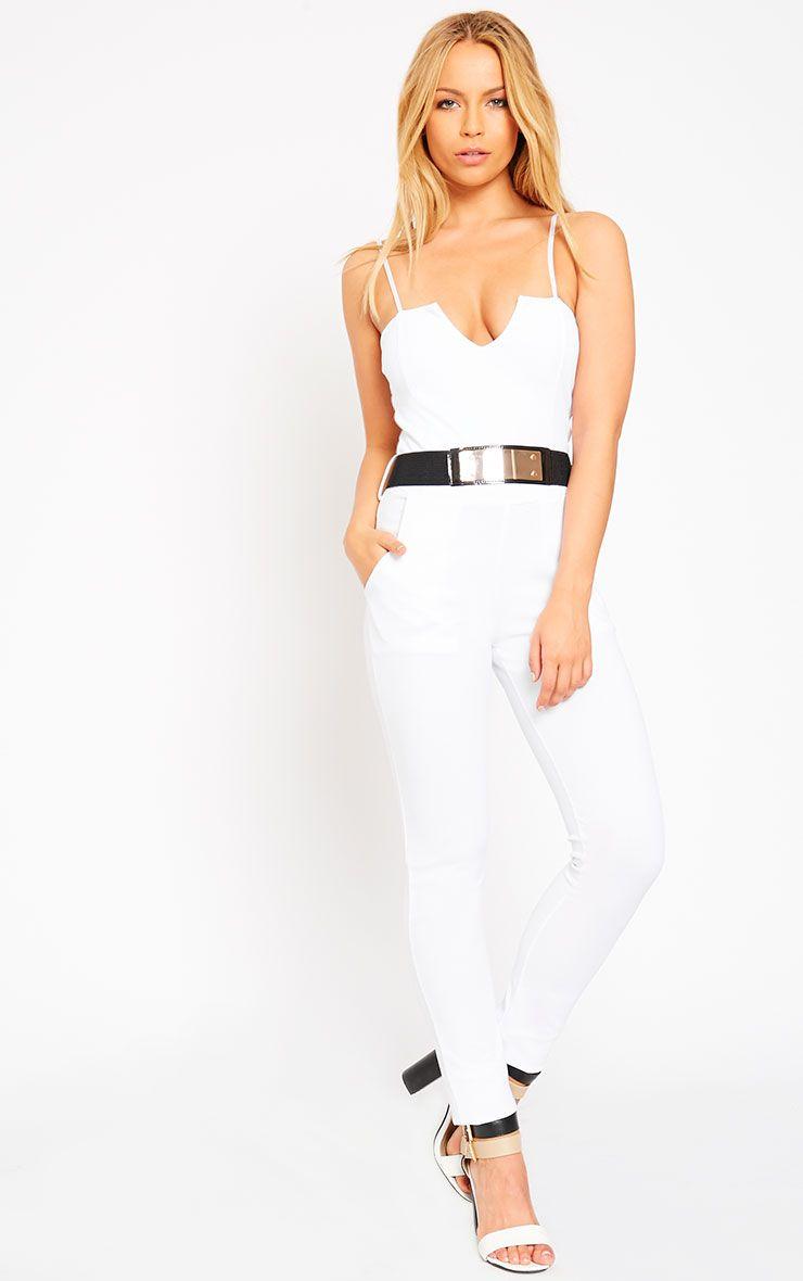 Leoni White Belted Jumpsuit 1