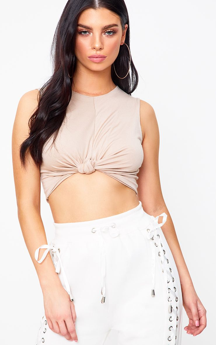 Stone Knot Front Sleeveless Crop Top