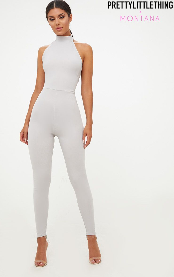 Grey High Neck Low Back Jumpsuit
