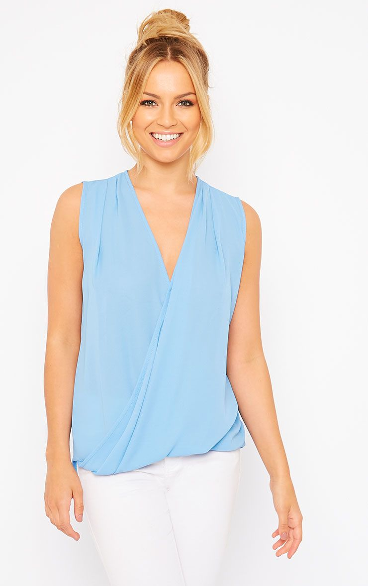 Maddox Blue Wrap Chiffon Top 1