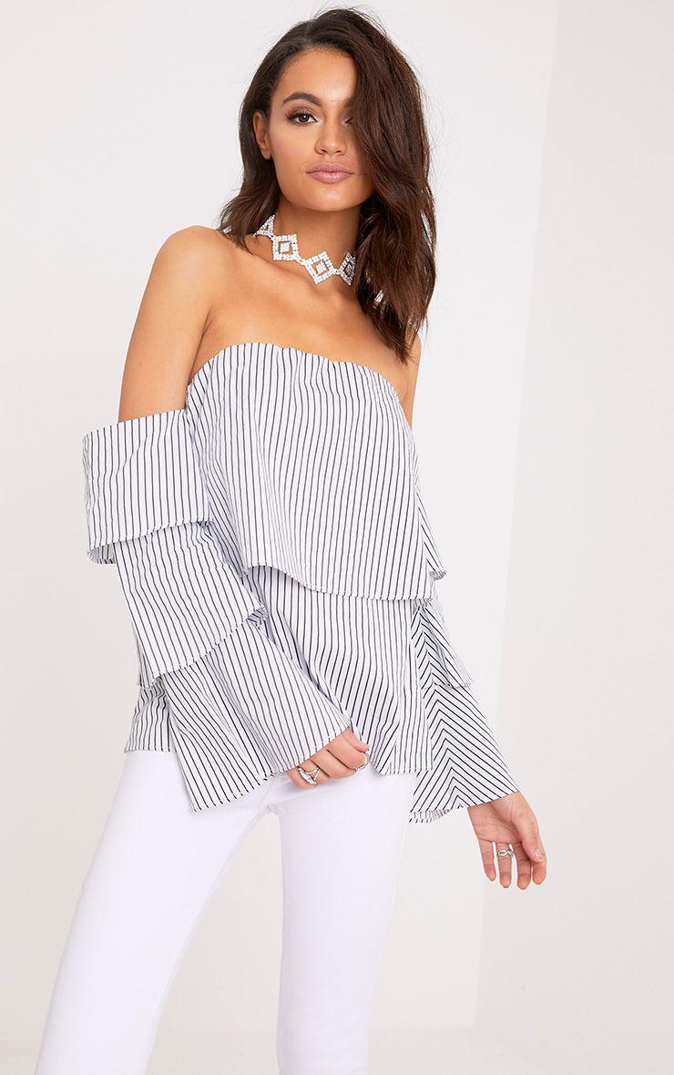 Caitie White Stripe Ruffle Sleeve Bardot Shirt