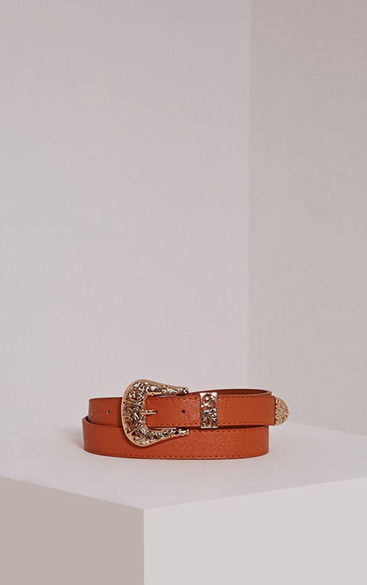 Madina Tan Gold Buckle Belt 1