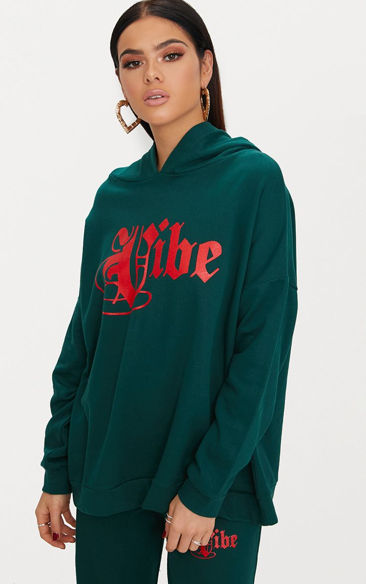 Forest Green Vibe Slogan Oversized Hoodie