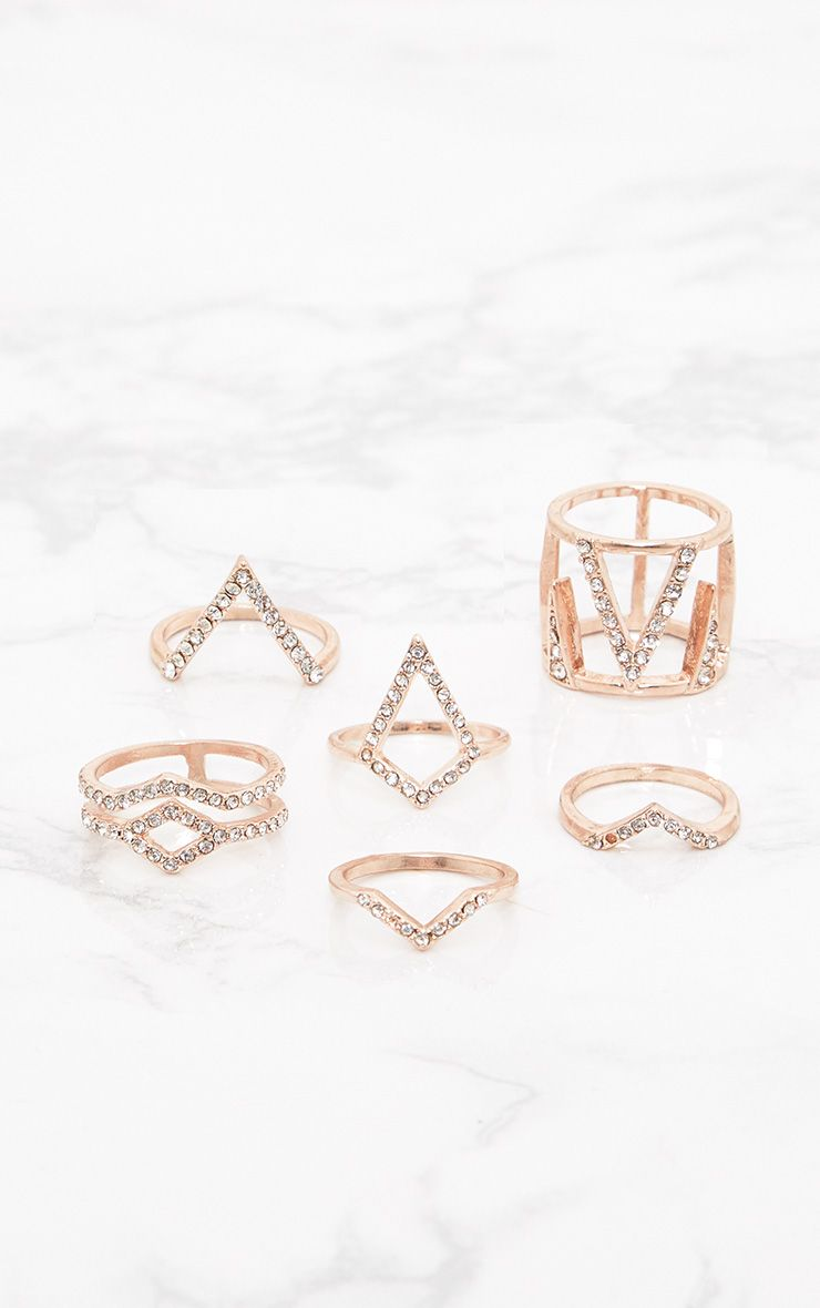 Rose Gold Diamante Multi Pack Rings