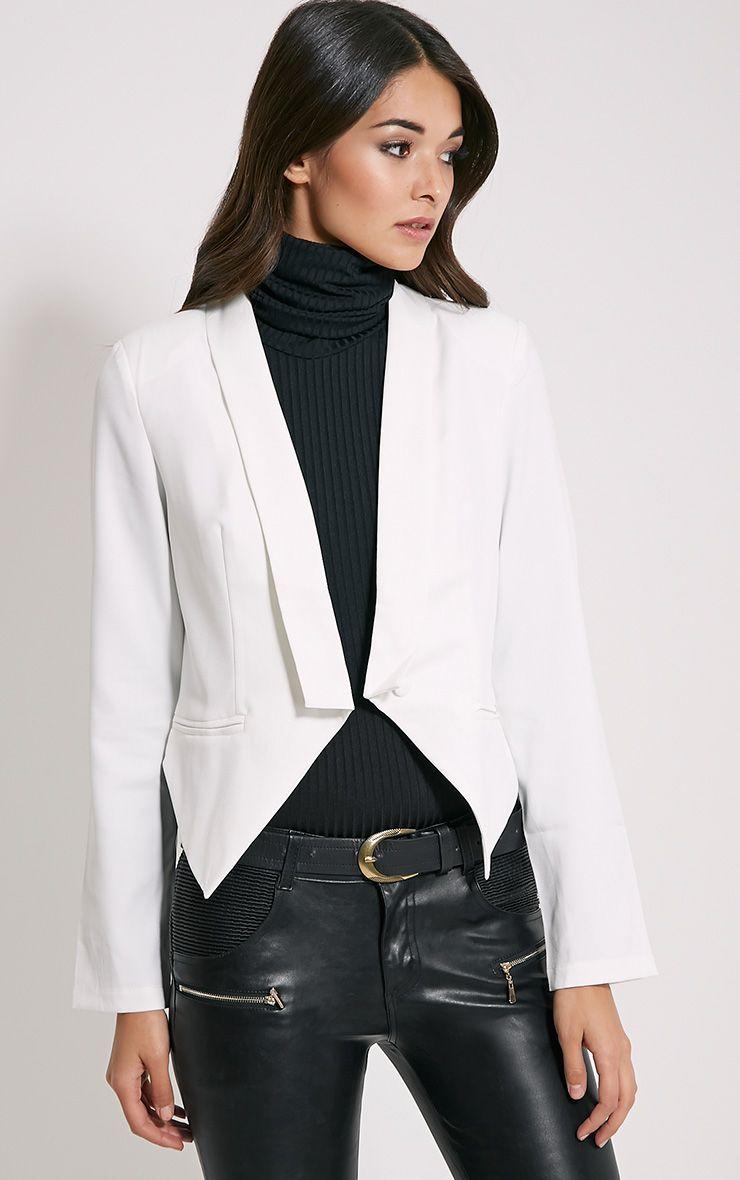 Jaida White Tailored Cropped Blazer 1