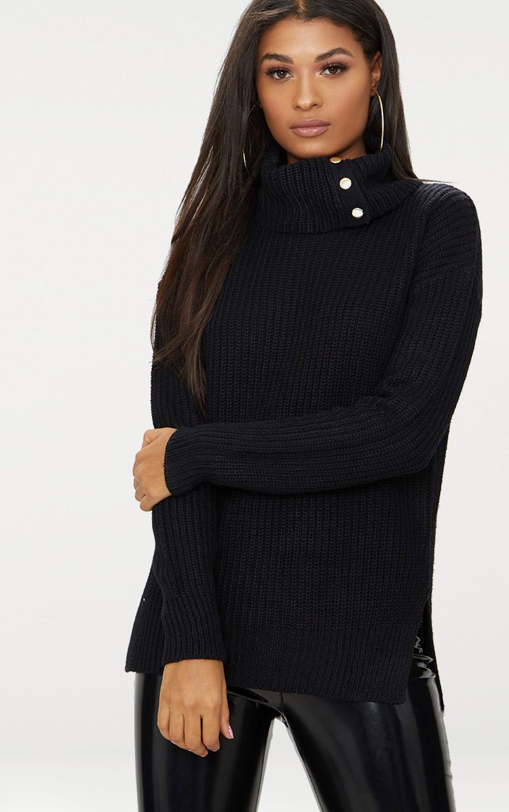 Black Roll Neck Button Detail Jumper