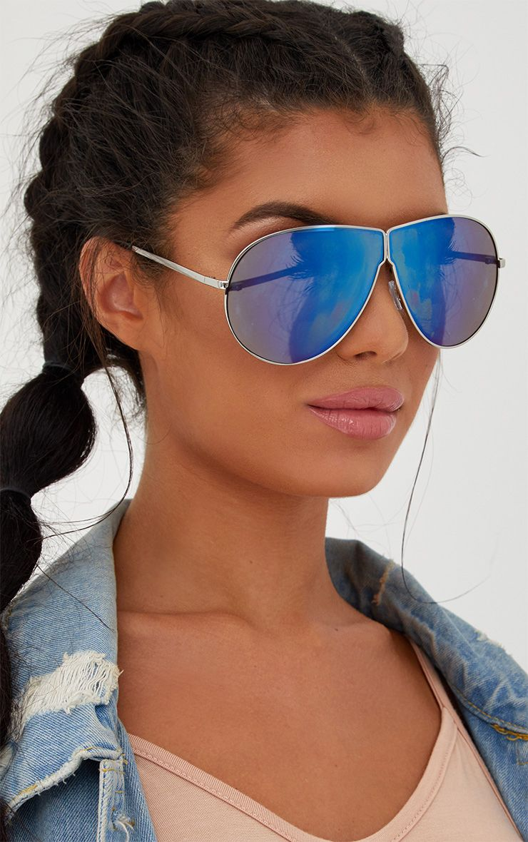 Blue Oversized Dropped Lens Aviator Sunglasses
