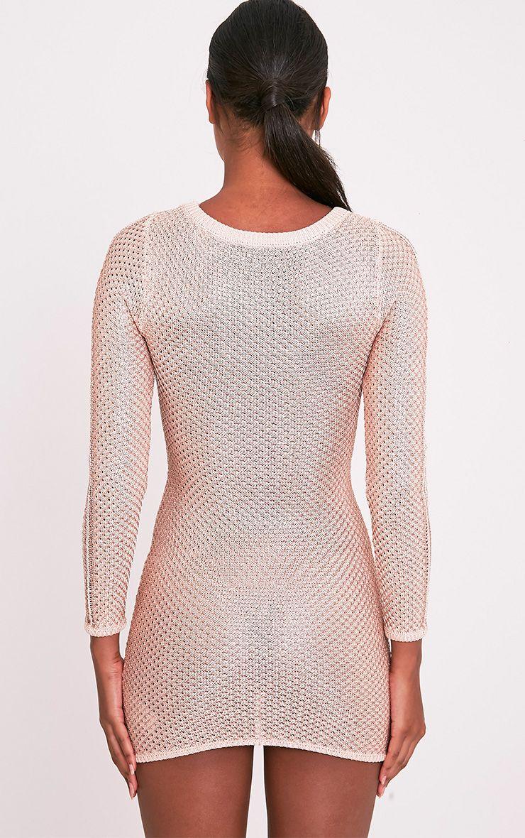 Venita Rose Gold Metallic Knit Lace Up Mini Dress 3