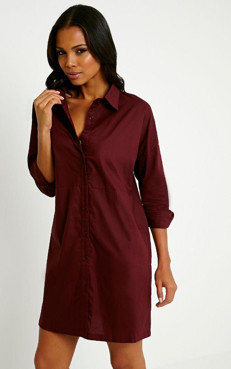 Carson Oxblood Shirt Dress 1