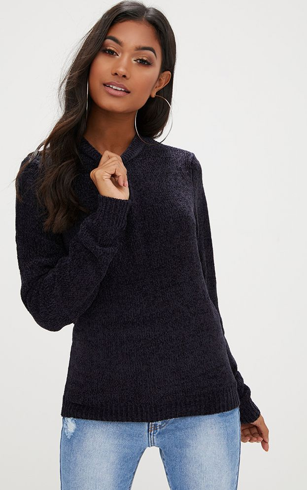 Navy Chenille Crew Neck Jumper