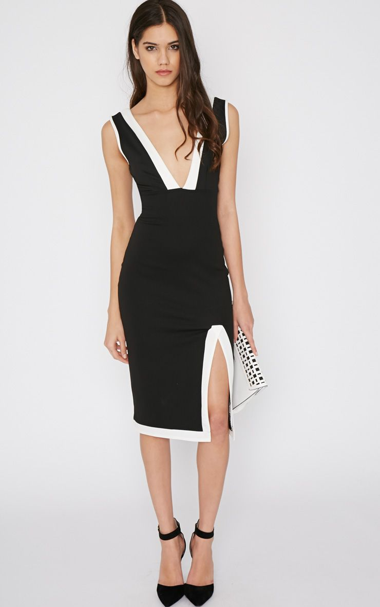 Kierra Monochrome Plunge Split Dress 1