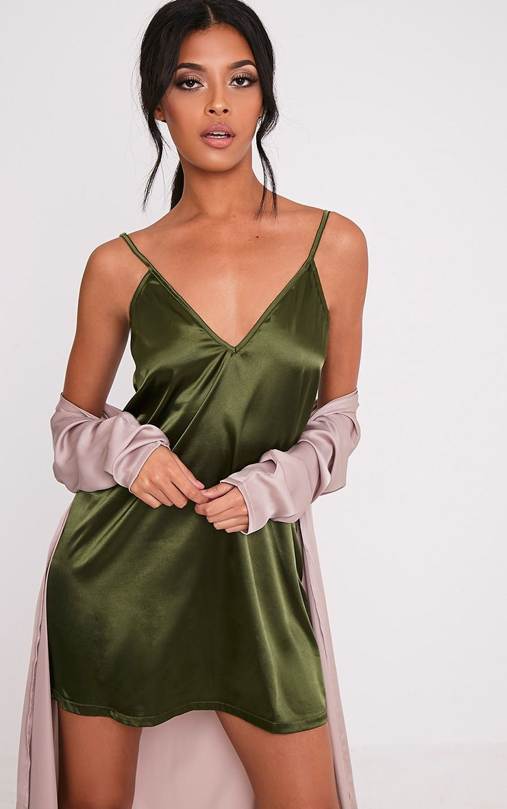 Erin Olive Plunge Satin Slip Dress