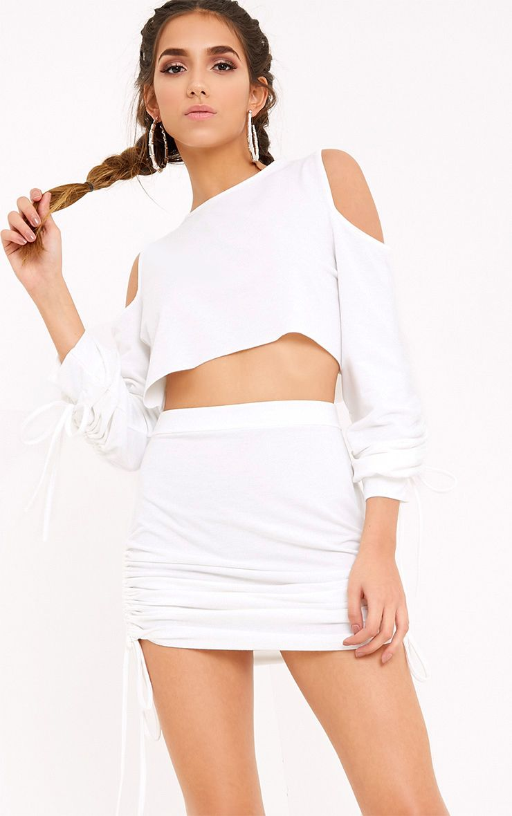 Achala Cream Ruched Cold Shoulder Sweater