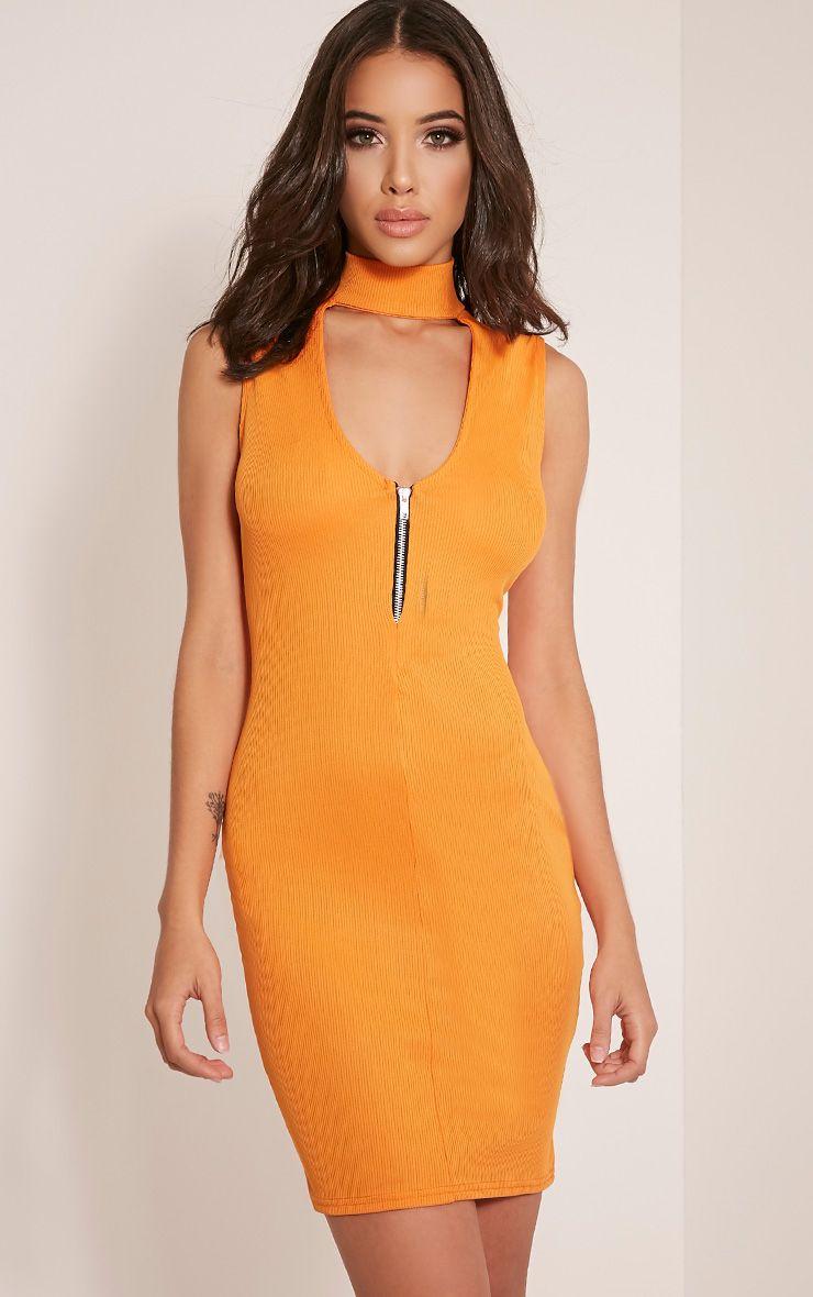 Marlene Bright Orange Sleeveless Ribbed Bodycon Dress 1