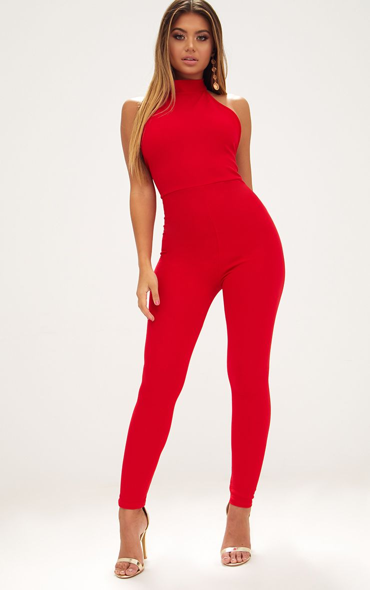 Red High Neck Low Back Jumpsuit