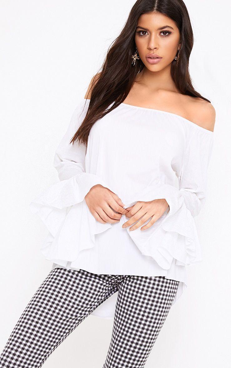 Yadira White Bardot Flute Sleeve Shirt