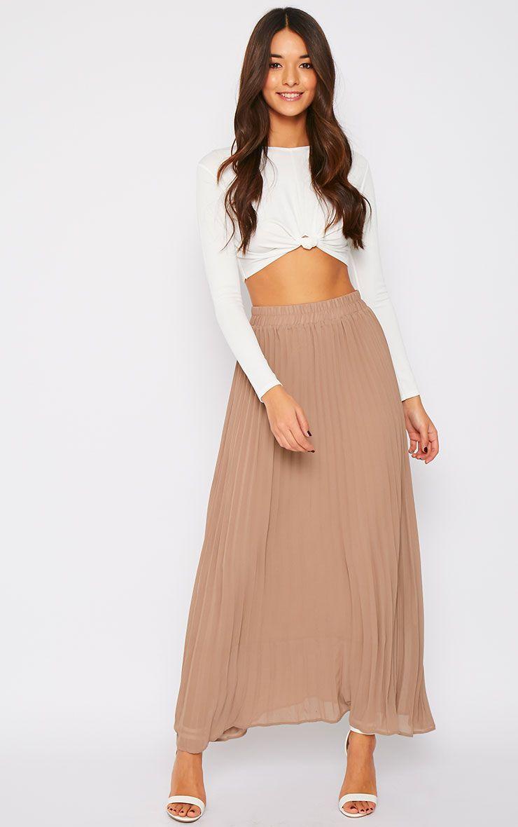 Serena Mocha Pleated Maxi Skirt 1