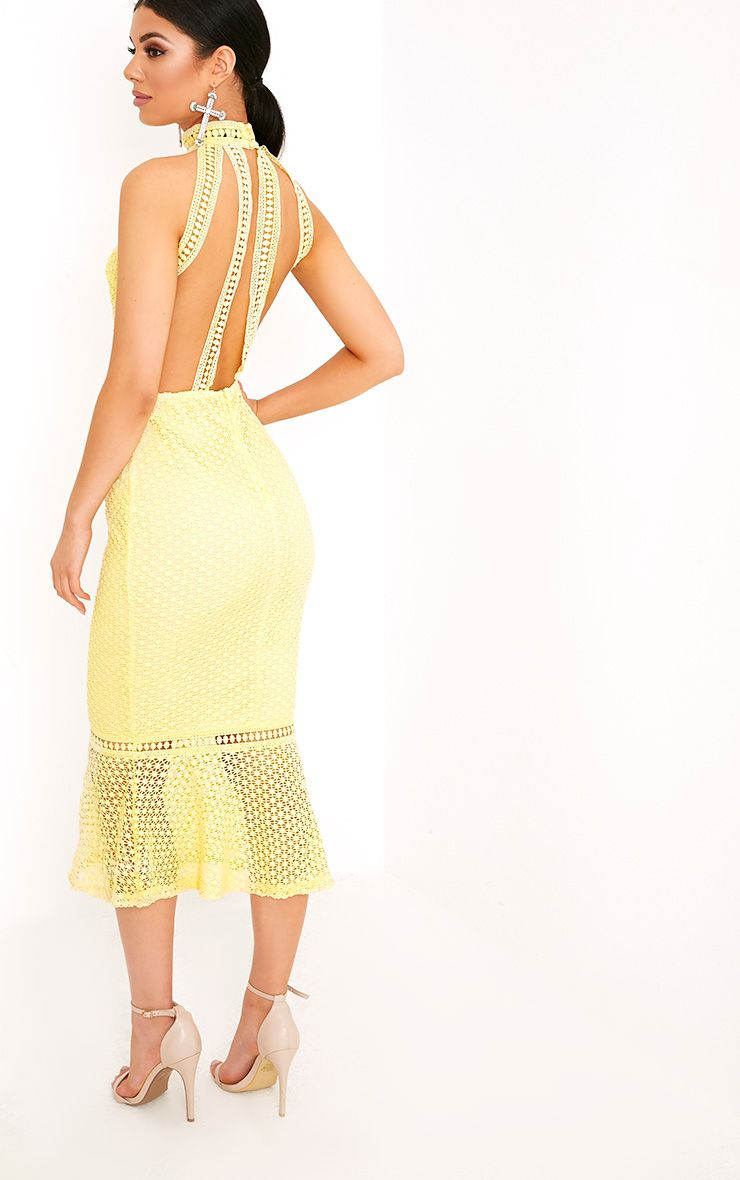 Kymmie Lemon Lace High Neck Midi Dress