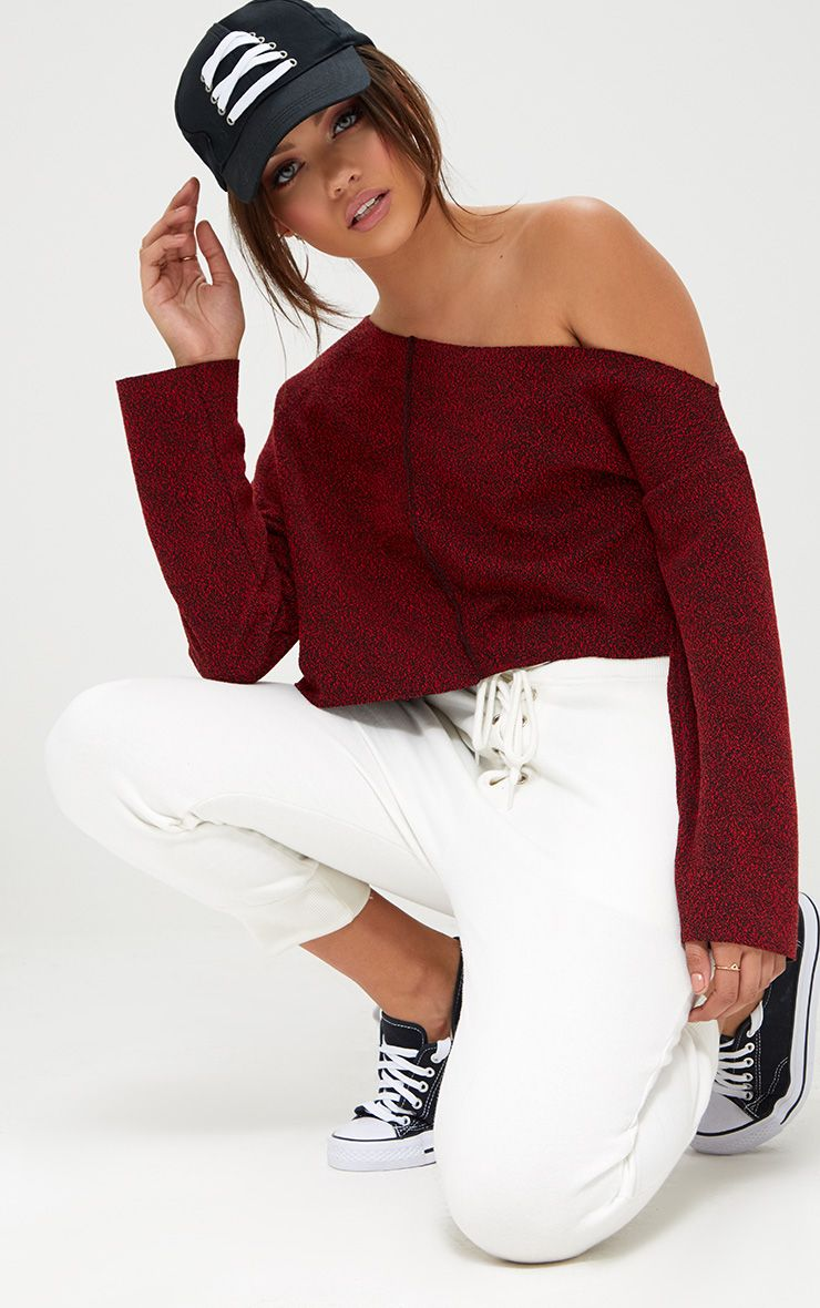 Red Marl Off Shoulder Sweater