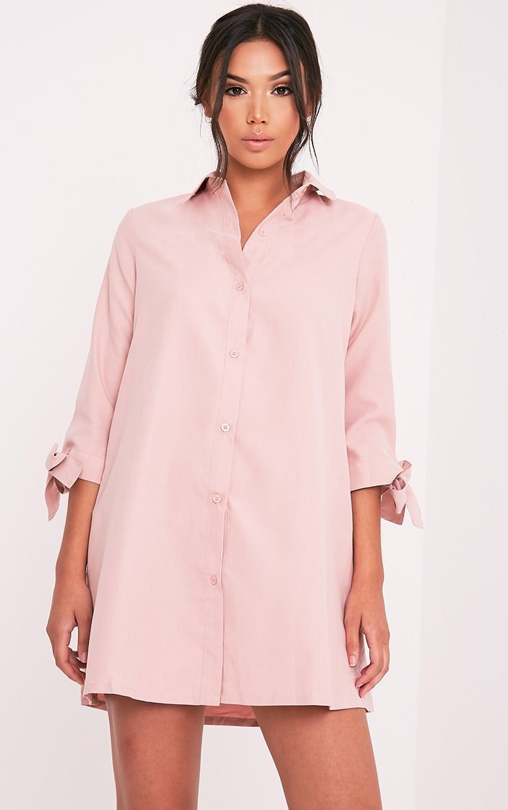Maysia Dusty Pink Cuff Detail Shirt Dress 1