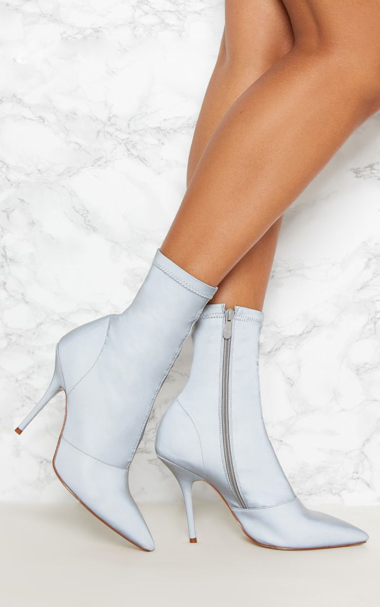 Grey Reflective Neoprene Heeled Sock Boot