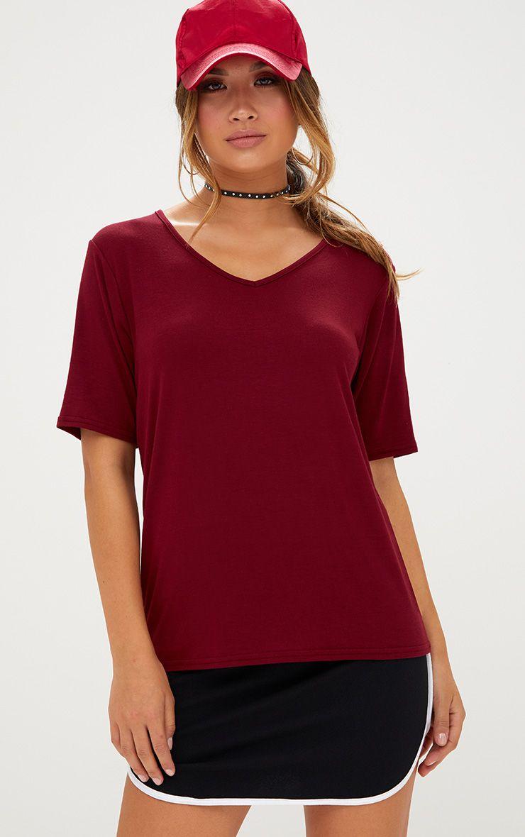 Basic Burgundy V Neck T Shirt