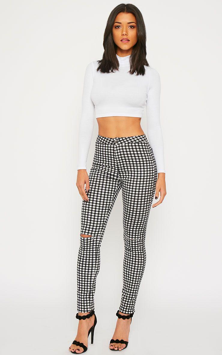 Jordan Monochrome Gingham Ripped Jeans 1
