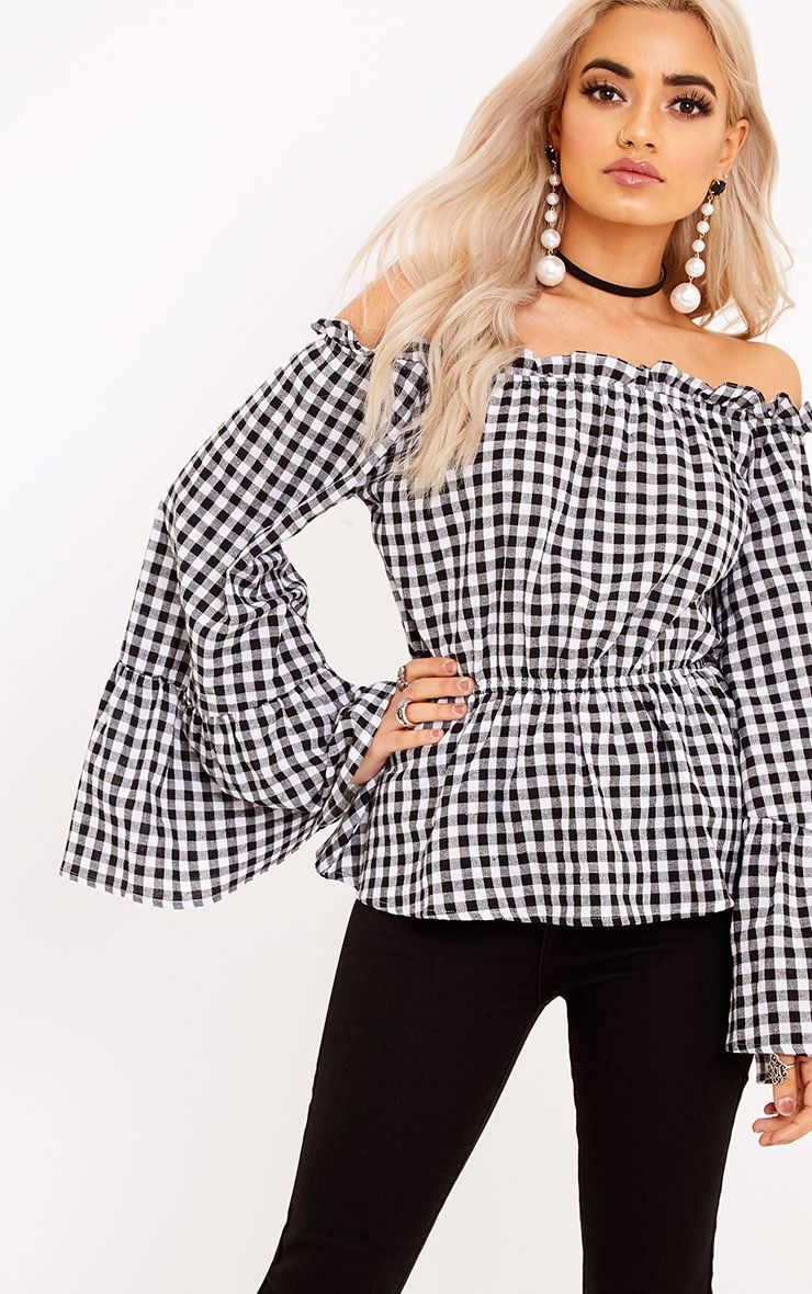 Nellie Black Gingham Check Bardot Top
