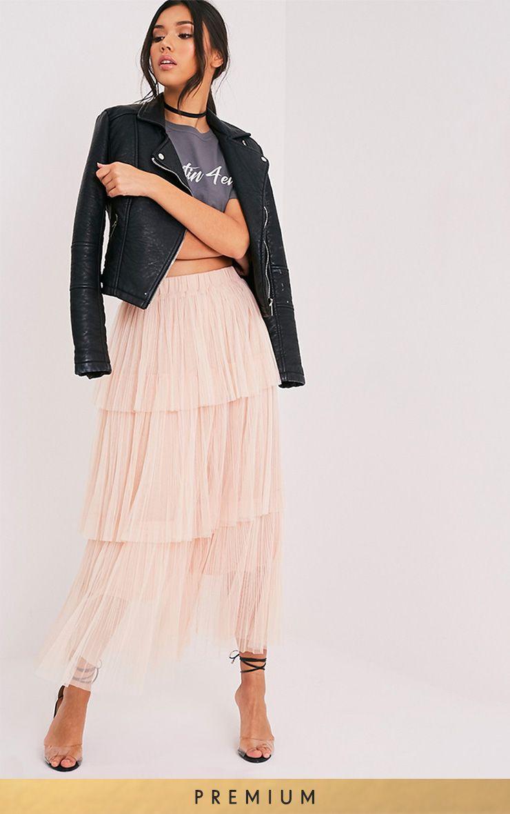 Regina Nude Tiered Tulle Maxi Skirt