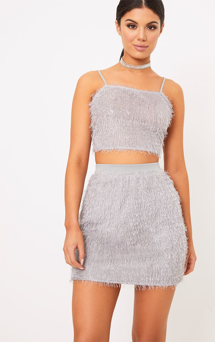 Diala Grey Eyelash Fringe Crop Top