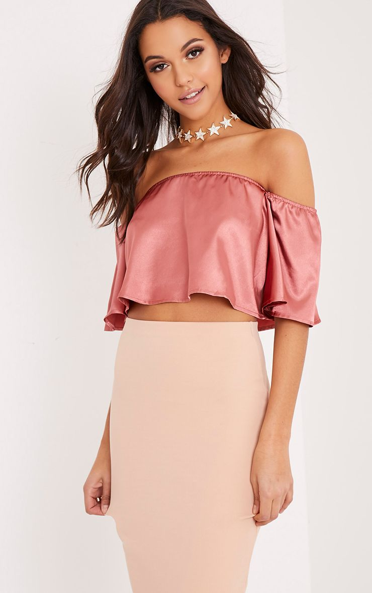 Nori Rose Satin Bardot Crop Top