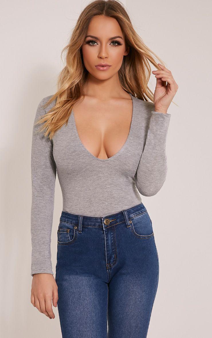 Nadie Grey Plunge Jersey Bodysuit 1