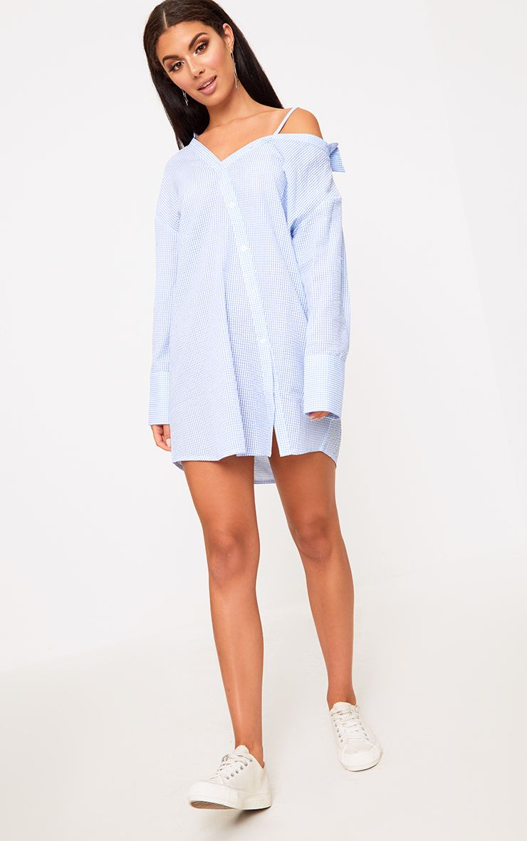 Blue Asymmetric Shirt Dress