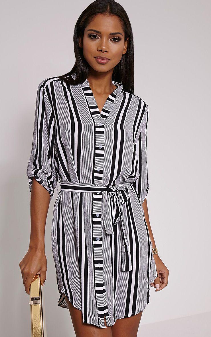 Demi Monochrome Stripe Belted Shirt Dress 1